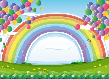 Illustration of a sky with a rainbow and colorful floating balloons Vector