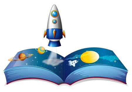 흰색 배경에 지구와 비행선을 보여주는 책의 그림