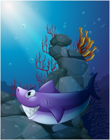 Illustration of a shark under the sea near the rocks on a white background Vector