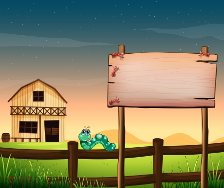Illustration of an empty wooden board across the barnhouse at the hilltop Vector
