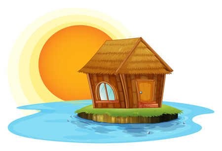 Illustration of a nipat hut in an island on a white background Vector