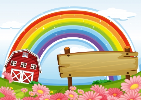 barnhouse: Illustration of an empty wooden signboard at the farm and a rainbow uphigh