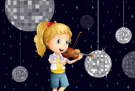 Illustration of a girl at the disco house playing with the violin Stock Vector - 25361696