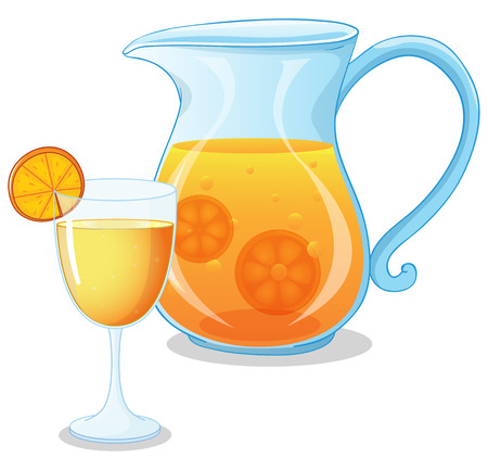Illustration of a glass and a pitcher of juice on a white background Vector