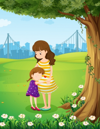 Illustration of a mother and her daughter under the tree Vector