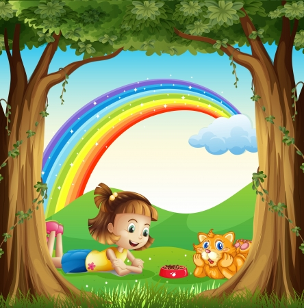 Illustration of a girl and her pet at the forest with a rainbow in the sky Vector