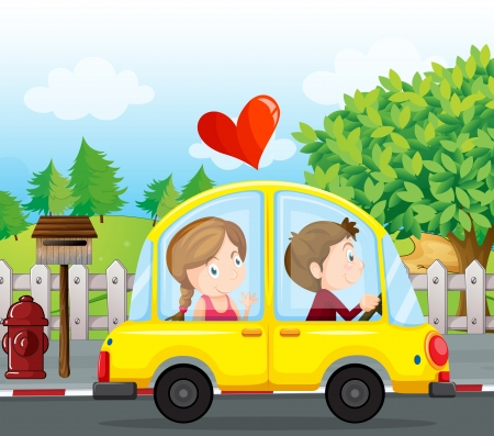 female driver: Illustration of a couple riding on a yellow car