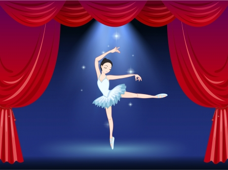 stageplay: Illustration of a stage with a beautiful ballerina dancer