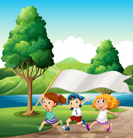 riverside tree: Illustration of the kids running near the riverbank while bringing an empty banner Illustration