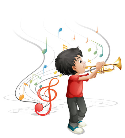 Illustration of a talented young boy playing with the trumpet on a white background