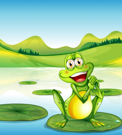 Illustration of a smiling frog above the waterlily at the pond Illustration