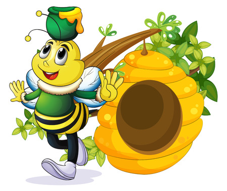 hindwing: Illustration of a bee with a pot above its head near the beehive on a white background