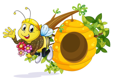 forewing: Illustration of a bee with flowers near the beehive on a white background