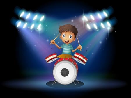Illustratie van een jonge drummer in het midden van het podium