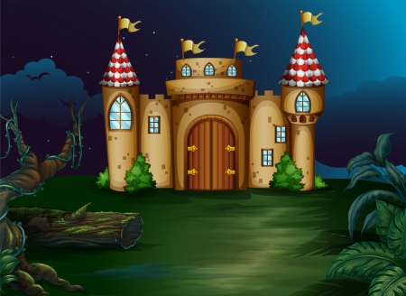 Illustration of a castle at the forest Vector