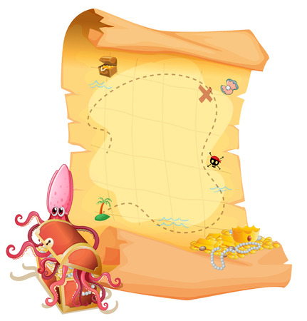 Illustration of a treasure map and an octopus inside the treasure box on a white background Vector