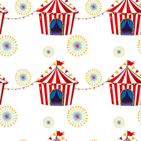 Illustration of a seamless design with carnival tents on a white background Vector
