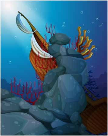 gift accident: Illustration of wooden boat under the sea near the coral reefs