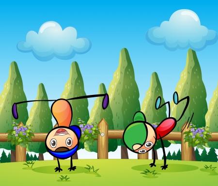 stickmen: Illustration of the two stickmen playing near the pine trees