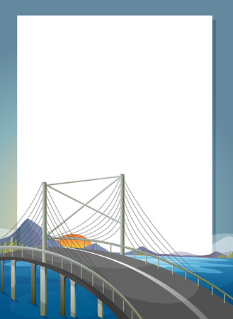 Illustration of an empty paper template with a bridge Vector