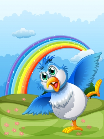 hilltop: Illustration of a cute bird at the hilltop with a rainbow in the sky