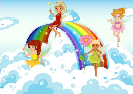 虹の近くの空の上の妖精のイラスト  イラスト・ベクター素材