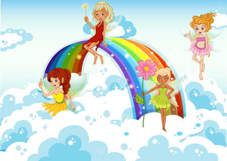 Illustration of the fairies above the sky near the rainbow