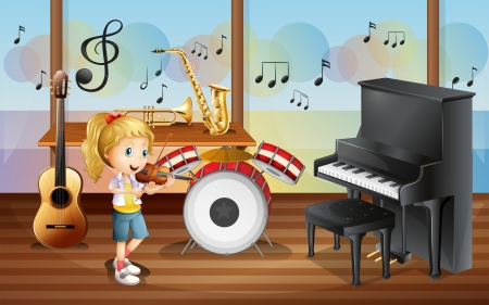 Illustration of a female musician inside the room with musical instruments Vector