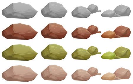 白い背景の上の異なった石の図