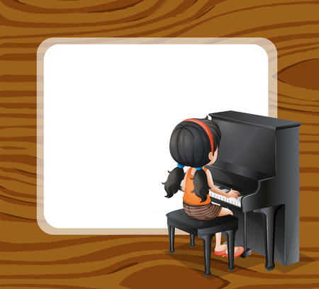 Illustration of an empty template beside the girl playing with the piano