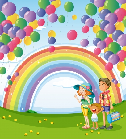 Illustration of a family strolling with a rainbow and floating balloons Vector