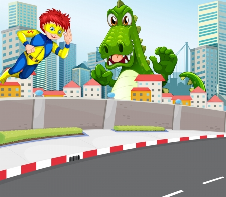 Illustration of a superhero and a crocodile in the city Illustration