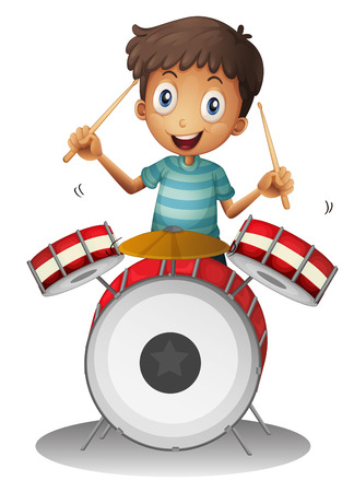 drumming: Illustration of a little drummer on a white background