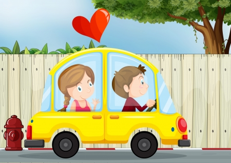 Illustration of a couple inside the yellow car Vector