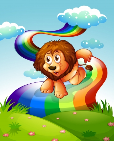 Illustration of a lion at the hilltop with a rainbow Stock Vector - 25499307