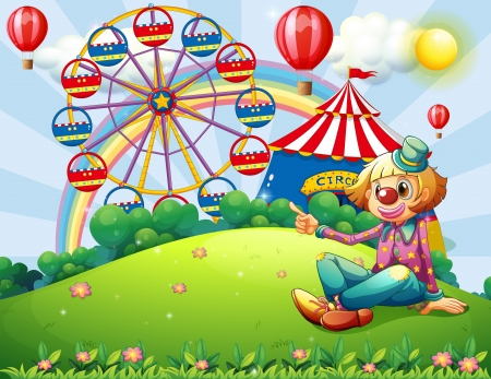 ferris wheel: Illustration of a clown at the hilltop with a carnival