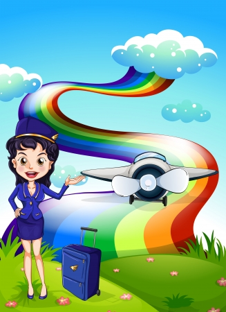 Illustration of a female pilot at the hilltop with a plane and a rainbow Vector