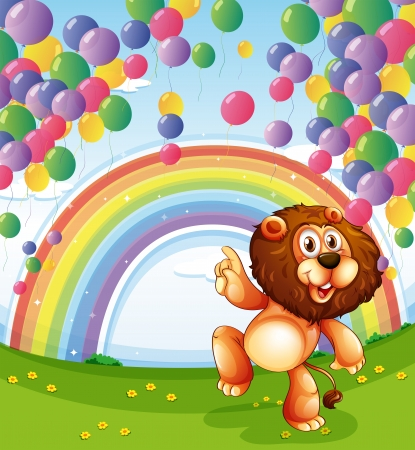 Illustration of a lion below the floating balloons with a rainbow Vector