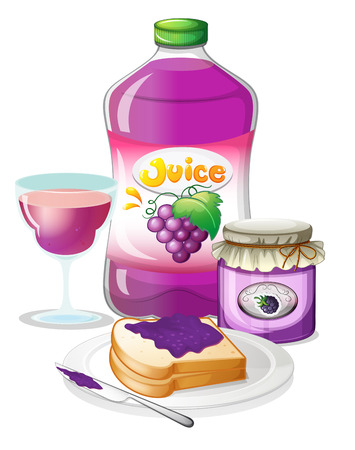 grape juice: Illustration of the grape juice, jam and sandwich on a white background