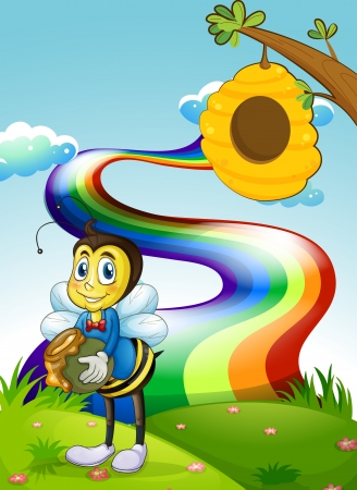 hilltop: Illustration of a hilltop with a rainbow and a bee near the beehive