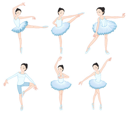 Illustration of the white ballet dancers on a white background Vector