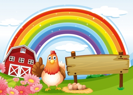 red hen: Illustration of a hen beside the empty board at the farm with a rainbow Illustration