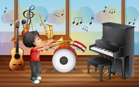 Illustration of a kid with musical instruments Vector
