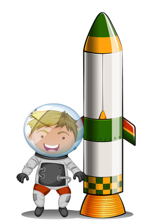 Illustration of an astronaut beside the rocket on a white background Stock Vector - 25515243
