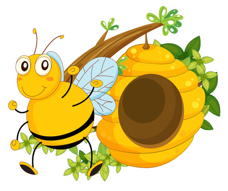 Illustration of a big bee near the beehive on a white background Vector