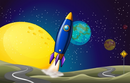 Illustration of an airship at the outerspace Stock Vector - 25515268