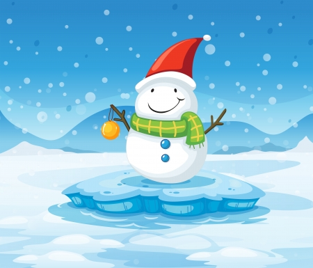 Illustration of a snowman wearing Santa's red hat