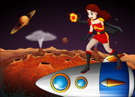 Illustration of a female superhero at the galaxy standing above the spaceship Vector
