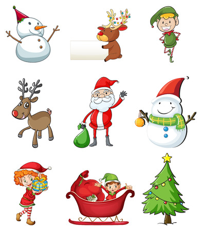 Illustration of the christmas symbols on a white background Vector