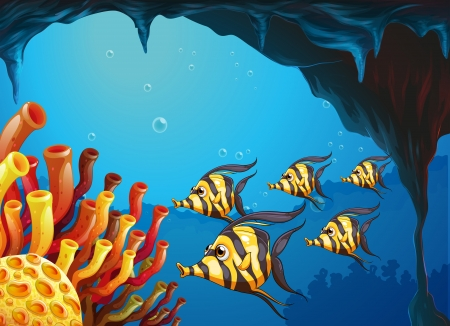 underworld: Illustration of a group of striped-colored fishes near the coral reefs